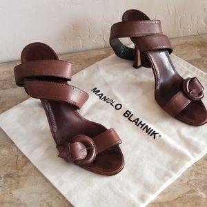 Authentic Manolo Blahnik Chocolate Ankle Wrap Heel
